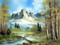 mountain cabin Style of Bob Ross