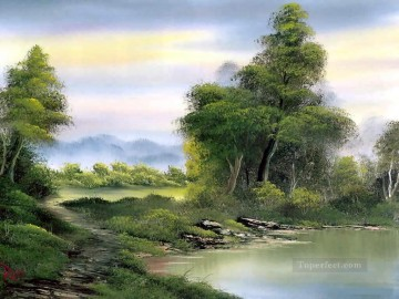 secluded lake Style of Bob Ross Oil Paintings