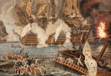 Combat naval 12 avril 1782 Dumoulin Naval Battle Oil Paintings