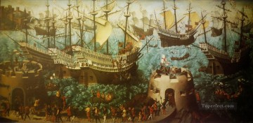 battleship warship war ship Painting - Embarkation of Henry VIII at Dover war ships