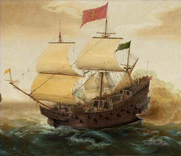 Spanish Galleon Firing its Cannon Naval Battle Oil Paintings