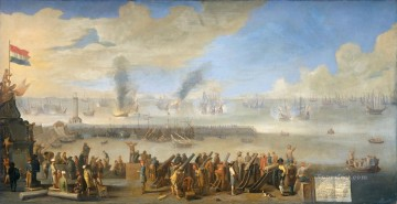 The Battle of Livorno 1653 Johannes Lingelbach Oil Paintings