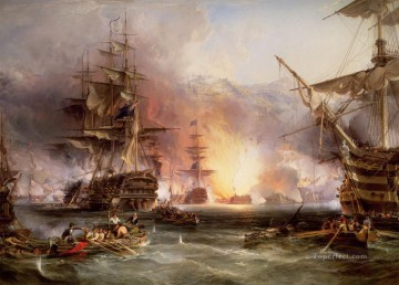 battleship warship war ship Painting - The Bombardment of Algiers battleships