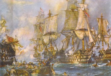 The Victory at the Battle of Trafalgar After Breaking Through the Enemys Line Oil Paintings