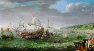 adam Painting - Willaerts Adam The Embarkation of the Elector Palantine battleships