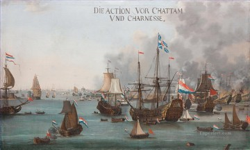 Willem van der Stoop The Battle of Chatham Naval Battle Oil Paintings
