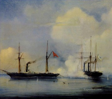 battleship warship war ship Painting - Action between Russian steam firgate Vladimir and Turkish Pervaz in Bahri warships