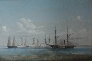 Orlogsskibet Hekla i kamp med tyske kanonbade 16 august 1850 Naval Battle Oil Paintings