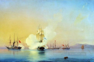 Warship Painting - battle of fregate flora against turkish steamships near pitsunda Alexey Bogolyubov warships naval warfare