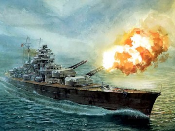 Battles Art Painting - Battleship Bismarck Firing A Salvo