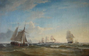 Blokadeeskadren ud for Elben 1849 Naval Battle Oil Paintings