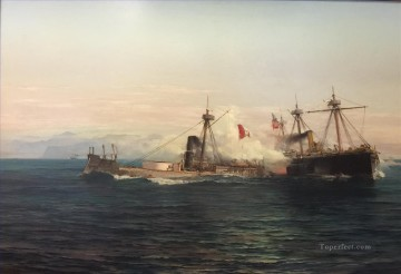Cambate Naval de Angamos Naval Battle Oil Paintings