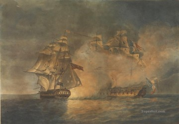 Warship Painting - Capture of the French Frigate La Tribune by The Unicorn Pocock Naval Battle