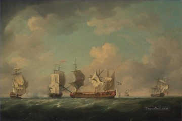 Warship Painting - Charles Brooking The Capture of the Marquis d Antin and the Louis Erasme Naval Battle