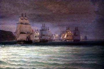 Combat du Romulus 3 Naval Battle Oil Paintings