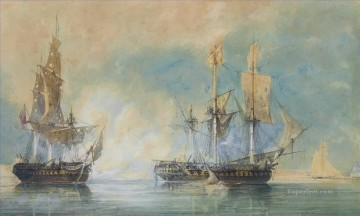 Warship Painting - Crescent capturing the French frigate Reunion off Cherbourg 1793 Naval Battle