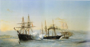 Durand Brager Naval Battle Oil Paintings