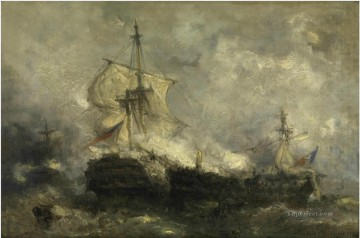 Warship Painting - Hendrik Frans Schaefels Naval battle Naval Battle