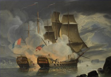 Warship Painting - Mars and the French 74 Hercule off Brest1798 Naval Battle