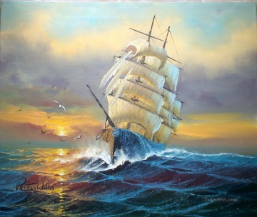 Sailboats and seagull battleships Oil Paintings
