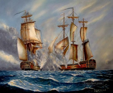 Sea Battle after Someone Filipino Oil Paintings
