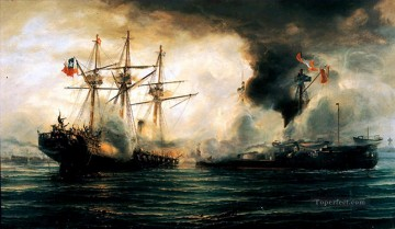 Sinking of the Esmeralda during the battle of Iquique Naval Battle Oil Paintings