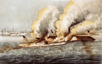 Warship Painting - Terrific Combat Between Monitor Merrimac Naval Battle