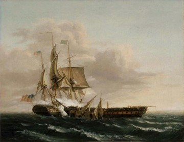 Warship Painting - Thomas Birch Engagement Between the Constitution and the Guerriere Naval Battle