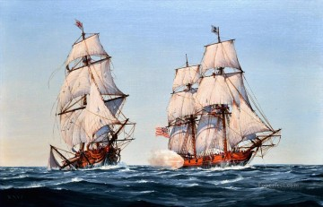 US Navy Virginia Navy cruiser Capt Barron taking the British navy brig HMS Oxford Naval Battle Oil Paintings