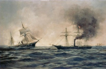 Warship Painting - US Navy sinking of the Confederate ship CSS Alabama Naval Battle