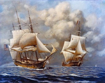 USS Constellation Vs Insurgente Naval Battle Oil Paintings