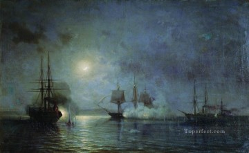 Warship Painting - turkish steamships attack 44 gun fregate flora 1857 Alexey Bogolyubov warships naval warfare