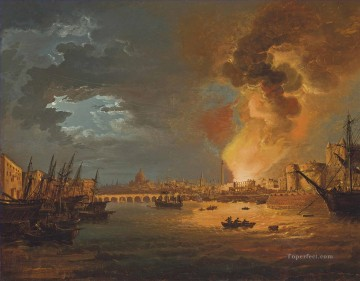 London Art - A capriccio of London with the burning of the Custom House 1814 by William Sadler warships