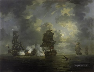 Battle of cartagena rowley Naval Battle Oil Paintings