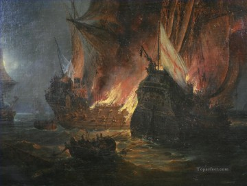 Combat de La Cordeliere devant Saint Mathieu Pierre Juilien Gilbert Naval Battle Oil Paintings