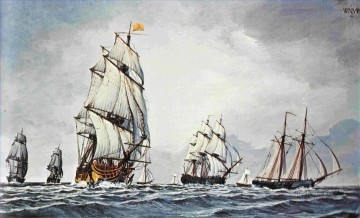 Continental Fleet At Sea battleships Oil Paintings