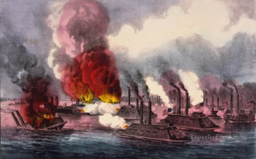 Currier Ives Brilliant naval victory on the Mississippi River near Fort Wright 1862 Naval Battle Oil Paintings