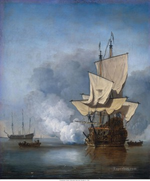 battleship warship war ship Painting - Het Kanonschot Willem van de Velde II 1707 battleships
