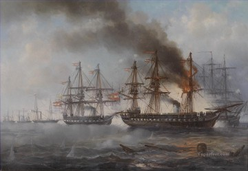 Josef Carl Puttner Seegefecht bei Helgoland 1864 Naval Battle Oil Paintings