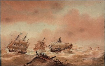 Warship Painting - Nicholas Pocock The Day after Trafalgar The Victory Trying to Clear the Land with the Royal Sovereign in Tow to the Euryalus 1810