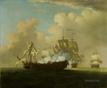 Warship Painting - Peter Monamy The Princessa in action Naval Battle