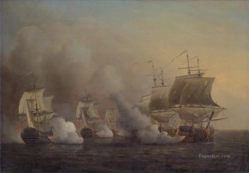 Samuel Scott Action off the Cape of Good Hope 2 Naval Battle Oil Paintings