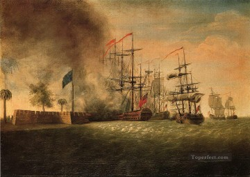 Sir Peter Parker s Attack Against Fort Moultrie Naval Battle Oil Paintings