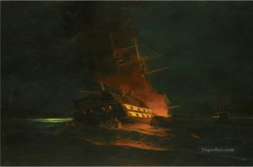The burning of a Turkish frigate 2 by Konstantinos Volanakis Naval Battle Oil Paintings