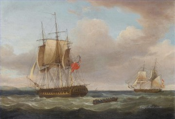 Thomas Whitcombe H M S Pique 40 guns Captain C H B Ross capturing the Spanish Brig Orquijo 1805 Naval Battle Oil Paintings