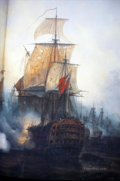 Warship Painting - Trafalgar Mayer Naval Battle