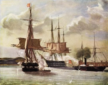 Vilhelm Pedersen Scene af slaget ved Eckernforde 1849 Naval Battle Oil Paintings