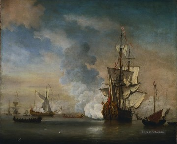 Willem van de Velde de Jonge Brits oorlogsschip battleships Oil Paintings