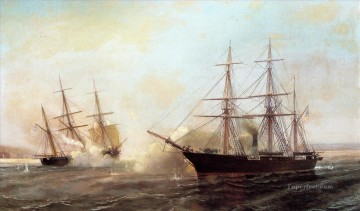 battleship warship war ship Painting - alabama civil war ships