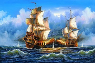naval battle ship Oil Paintings